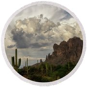 Clouds Bubbling Over The Superstitions  Round Beach Towel