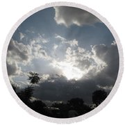 Clouds Buildup Round Beach Towel