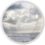 Clouds By The Sea Round Beach Towel