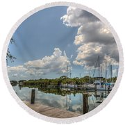 Clouds Down The Bay Round Beach Towel