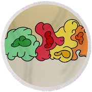 Clouds Drifting By Round Beach Towel