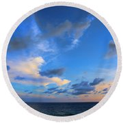 Clouds Drifting Over The Ocean Round Beach Towel