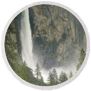 Clouds Hang Over Bridaveil Falls Round Beach Towel
