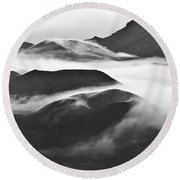Maui Hawaii Haleakala National Park Clouds In Haleakala Crater Round Beach Towel