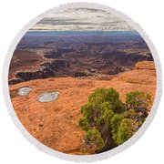 Clouds Junipers And Potholes Round Beach Towel