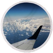 Clouds Under An Airplane Wing Round Beach Towel