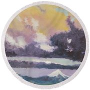 Clouds Of Mt Hood Round Beach Towel