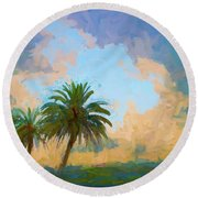 Clouds On The Loop Round Beach Towel
