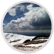 Clouds On The Mountain Round Beach Towel