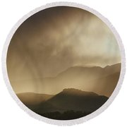 Clouds On The Rocky Mountains Front Range Foothills Round Beach Towel