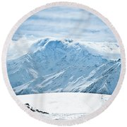 Clouds On The Top Of The Ridge Round Beach Towel