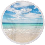 Clouds Over Blue Sea Round Beach Towel