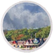 Clouds Over Boathouse Row Round Beach Towel