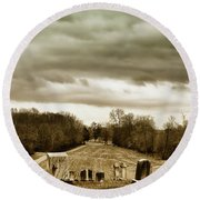 Clouds Over Cemetery Round Beach Towel
