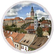 Clouds Over Cesky Krumlov Round Beach Towel
