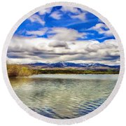 Clouds Over Distant Mountains Round Beach Towel