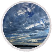 Clouds Over English Bay From Sunset Beach Vancouver Round Beach Towel