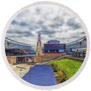 Clouds Over Gillette Stadium Round Beach Towel
