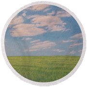 Clouds Over Green Field Round Beach Towel