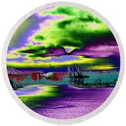 Clouds Over Harbor Island Round Beach Towel