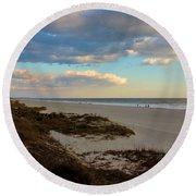 Clouds Over Holden Beach Round Beach Towel