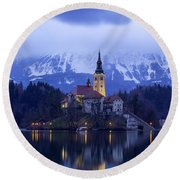 Clouds Over Lake Bled Round Beach Towel