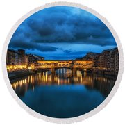 Clouds Over Ponte Vecchio Round Beach Towel
