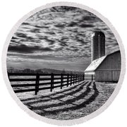 Clouds Over The Farm Round Beach Towel