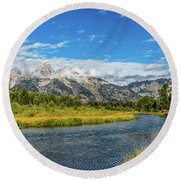 Clouds Over The Grand Tetons Round Beach Towel