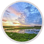 Clouds Over The Marsh 4 Round Beach Towel