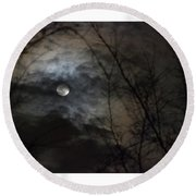 Clouds Over The Moon Round Beach Towel