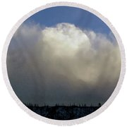 Clouds Over The Ridge Round Beach Towel