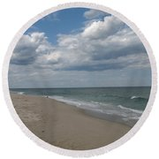 Clouds Over The Sea Round Beach Towel
