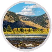 Clouds Over The Teton Foothills Round Beach Towel
