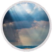 Clouds Over Tuscany Round Beach Towel