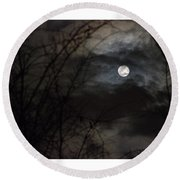 Clouds Passing The Snow Moon Round Beach Towel