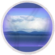 Clouds Puget Sound Round Beach Towel