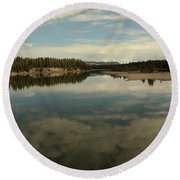 Clouds Reflecting In An Alpine Lake.  Round Beach Towel