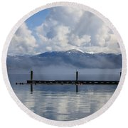 Clouds Reflecting Off Priest Lake Round Beach Towel