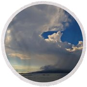 Clouds Rising Round Beach Towel