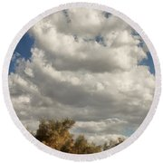 Clouds Rising Palm Springs Round Beach Towel