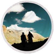 Clouds Way Kailas Kora Himalayas Tibet Yantra.lv Round Beach Towel