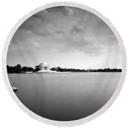 cloudscape and the Tidal Basin Round Beach Towel