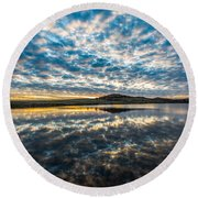 Cloudscape - Reflection Of Sky In Wichita Mountains Oklahoma Round Beach Towel