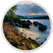 Cloudy Autumn Sunset Round Beach Towel