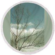 Cloudy Blue Sky Through Tree Top No 1 Round Beach Towel