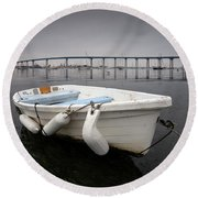 Cloudy Coronado Island Boat Round Beach Towel