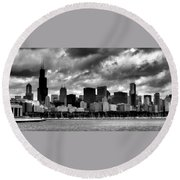 Cloudy Day Chicago - 2 Round Beach Towel