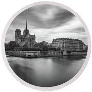 Cloudy Day On The Seine Round Beach Towel by James Udall
