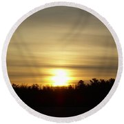 Cloudy Golden Sky At Dawn Round Beach Towel